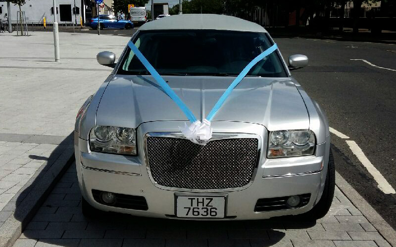 Book our silver limousine for your wedding day in glasgow
